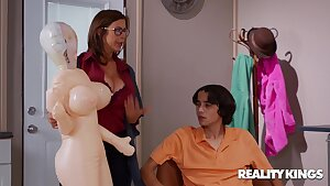 Swollen Sex Drive - nerdy brunette stepmom Alexis Fawx fucked by younger boy Ricky Spanish
